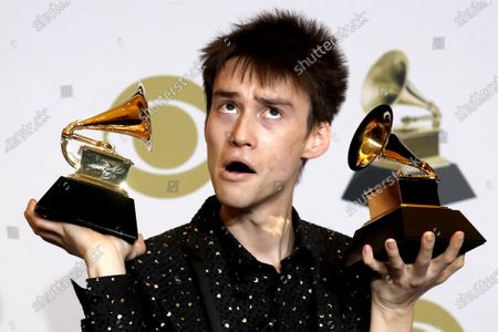 Jacob Collier poses in the press room with the Grammy for Best Arrangement, Instrumental or a Cappella during the 62nd annual Grammy Awards ceremony at the Staples Center in Los Angeles, California, USA, 26 January 2020.