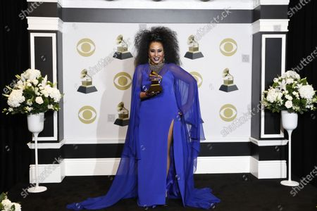 Aymee Nuviola poses in the press room with the Grammy for Best Tropical Latin Album during the 62nd annual Grammy Awards ceremony at the Staples Center in Los Angeles, California, USA, 26 January 2020.