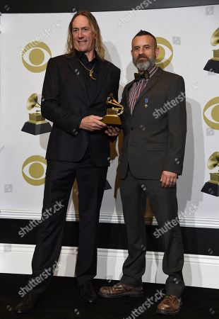 "Stock Photo of Danny Carey, Justin Chancellor. Danny Carey, left, and Justin Chancellor of Tool pose in the press room with the award for best metal performance for ""7empest"" at the 62nd annual Grammy Awards at the Staples Center, in Los Angeles"