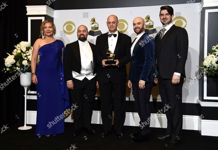 "Stock Image of Gil Rose, Edwin Vega, John Brancy, Andrew Craig Brown, Krista River. Krista River, from left, Edwin Vega, Gil Rose John Brancy and Andrew Craig Brown pose in the press room with the award for best opera recording for ""Tobias Picker's Fantastic Mr. Fox"" at the 62nd annual Grammy Awards at the Staples Center, in Los Angeles"