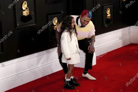 Chris Brown (R) and his daughter Royalty arrive for the 62nd annual Grammy Awards ceremony at the Staples Center in Los Angeles, California, USA, 26 January 2020.