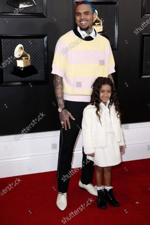 Chris Brown (L) and his daughter Royalty arrive for the 62nd annual Grammy Awards ceremony at the Staples Center in Los Angeles, California, USA, 26 January 2020.