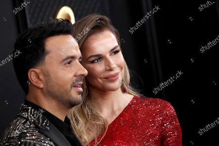Stock Image of Luis Fonsi and Agueda Lopez arrive for the 62nd annual Grammy Awards ceremony at the Staples Center in Los Angeles, California, USA, 26 January 2020.