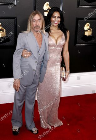 Iggy Pop (L) and Nina Alu arrive for the 62nd Annual Grammy Awards ceremony at the Staples Center in Los Angeles, California, USA, 26 January 2020.