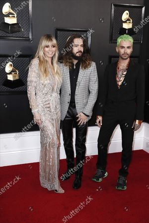 Heidi Klum, Tom Kaulitz and Bill Kaulitz arrive for the 62nd Annual Grammy Awards ceremony at the Staples Center in Los Angeles, California, USA, 26 January 2020.