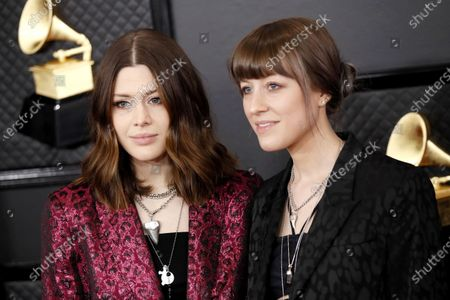 Rebecca Lovell and Megan Lovell of Larkin Poe arrive for the 62nd Annual Grammy Awards ceremony at the Staples Center in Los Angeles, California, USA, 26 January 2020.