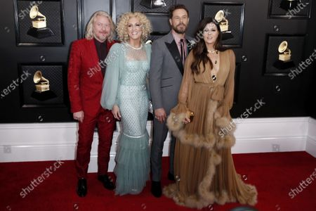 Philip Sweet, Kimberly Schlapman, Jimi Westbrook, and Karen Fairchild of music group Little Big Town arrive for the 62nd Annual Grammy Awards ceremony at the Staples Center in Los Angeles, California, USA, 26 January 2020.
