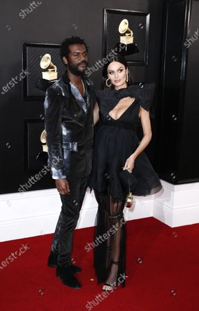 Gary Clark Jr. (L) and Nicole Trunfio arrive for the 62nd Annual Grammy Awards ceremony at the Staples Center in Los Angeles, California, USA, 26 January 2020.