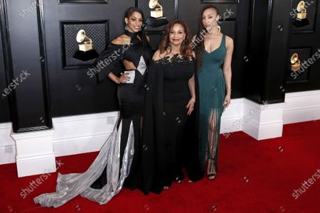 Vivian Nixon (L) and Debbie Allen (C) arrive with a guest for the 62nd Annual Grammy Awards ceremony at the Staples Center in Los Angeles, California, USA, 26 January 2020.