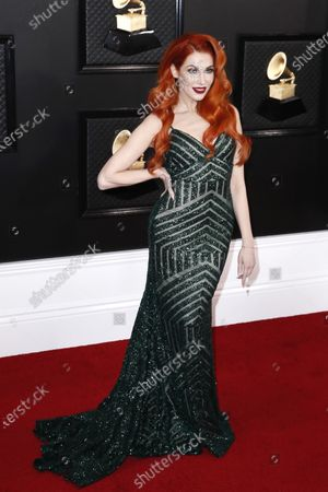 Stock Photo of Bonnie McKee arrives for the 62nd annual Grammy Awards ceremony at the Staples Center in Los Angeles, California, USA, 26 January 2020.