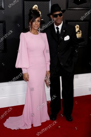 Lisa Padilla (L) and Jimmy Jam arrive for the 62nd Annual Grammy Awards ceremony at the Staples Center in Los Angeles, California, USA, 26 February 2020.