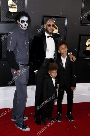 Prince Nasir Dean, Swizz Beatz, Genesis Ali Dean, and Egypt Daoud Dean arrive for the 62nd Annual Grammy Awards ceremony at the Staples Center in Los Angeles, California, USA, 26 February 2020.