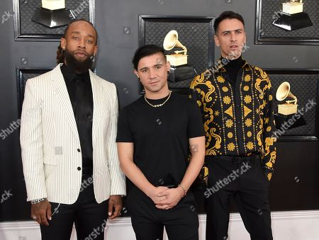 Stock Picture of Skrillex, Ty Dolla Sign, Boys Noize. Ty Dolla Sign, from left, Skrillex and Boys Noize arrive at the 62nd annual Grammy Awards at the Staples Center, in Los Angeles
