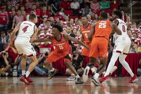 Clemson Guard John Newman III (15) during the NCAA Basketball game between the Clemson Tigers and NC State Wolfpack at PNC Arena in Raleigh, NC