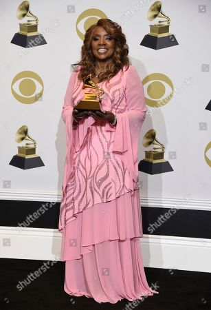 """Gloria Gaynor poses in the press room with the award for best roots gospel album for """"Testimony"""" at the 62nd annual Grammy Awards at the Staples Center, in Los Angeles"""