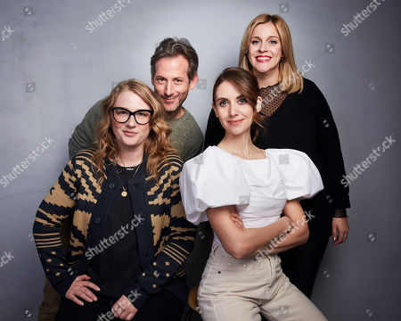 "Mel Eslyn, Jeff Baena, Alison Brie, Alana Carithers. Producer Mel Eslyn, from left, writer/director Jeff Baena, Alison Brie and producer Alana Carithers pose for a portrait to promote the film ""Horse Girl"" at the Music Lodge during the Sundance Film Festival, in Park City, Utah"