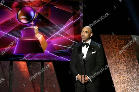Harvey Mason Jr..., Recording Academy chair of the board and interim president/CEO, speaks at the 62nd annual Grammy Awards, in Los Angeles