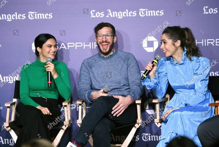 """Camila Mendes, Andy Samberg, Cristin Milioti. Camila Mendes, left, Andy Samberg and Cristin Milioti talk during a panel for """"Palm Springs"""" at Los Angeles Times Live during the Sundance Film Festival presented by Chase Sapphire, in Park City, Utah"""
