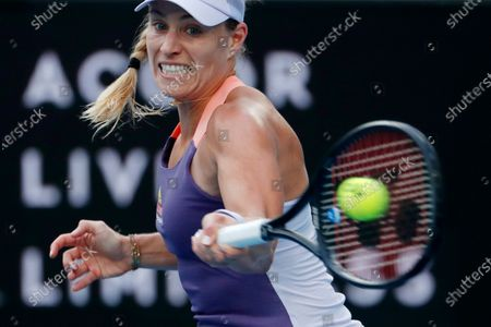 Angelique Kerber of Germany in action during her women's singles fourth round match against Anastasia Pavlyuchenkova of Russia at the Australian Open Grand Slam tennis tournament in Melbourne, Australia, 27 January 2020.