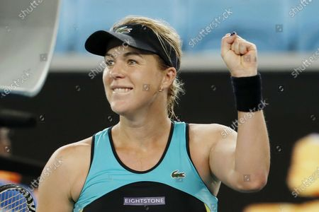 Anastasia Pavlyuchenkova of Russia reacts after winning her women's singles fourth round match against Angelique Kerber of Germany at the Australian Open Grand Slam tennis tournament in Melbourne, Australia, 27 January 2020.