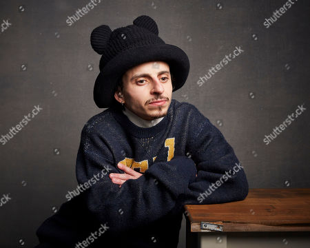 """Stock Image of Moises Arias poses for a portrait to promote the film """"Blast Beat"""" at the Music Lodge during the Sundance Film Festival, in Park City, Utah"""