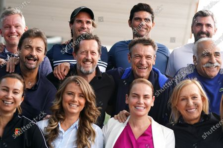 (L-R, top row) Thomas Johansson of Sweden, Tommy Haas of Germany, Mark Philippoussis of Australia, Goran Ivanisevic of Croatia along with, (L-R, middle row) Henri Leconte of France, Jonas Bjorkman of Sweden, Mats Wilander of Sweden, Mansour Bahrami of France and (L-R, bottom row) Iva Majoli of Croatia, Daniela Hantuchova of Slovakia, Jelena Dokic of Australia and Martina Navratilova of the USA take part in the Legends All Access Hour at the Australian Open tennis tournament at Melbourne Park in Melbourne, Australia, 27 January 2020.
