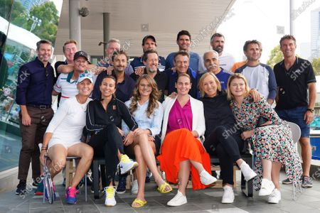 (L-R, top row) Todd Woodbridge, Mark Woodforde, Thomas Johansson, Tommy Haas, Mark Philippoussis, Goran Ivanisevic, Thomas Muster along with, (L-R, middle row) Wayne Ferreira, Henri Leconte, Jonas Bjorkman, Mats Wilander, Mansour Bahrami, Fabrice Santoro, Pat Cash and (L-R, bottom row) Rennae Stubbs, Iva Majoli, Daniela Hantuchova, Jelena Dokic, Martina Navratilova, Dinara Safina take part in the Legends All Access Hour at the Australian Open tennis tournament at Melbourne Park in Melbourne, Australia, 27 January 2020.
