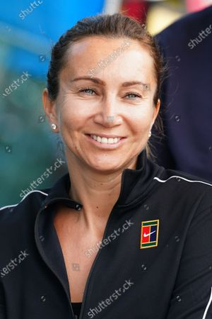 Iva Majoli of Croatia takes part in the Legends All Access Hour at the Australian Open tennis tournament at Melbourne Park in Melbourne, Australia, 27 January 2020.