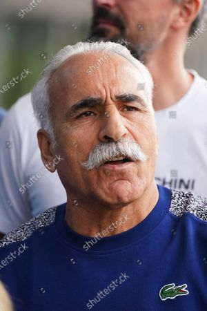 Mansour Bahrami of France takes part in the Legends All Access Hour at the Australian Open tennis tournament at Melbourne Park in Melbourne, Australia, 27 January 2020.