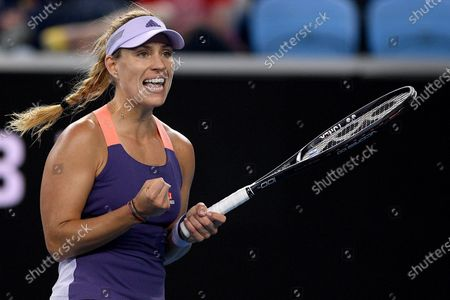 Angelique Kerber of Germany reacts during her fourth round match against Anastasia Pavlyuchenkova of Russia at the Australian Open tennis tournament at Melbourne Park in Melbourne, Australia, 27 January 2020.