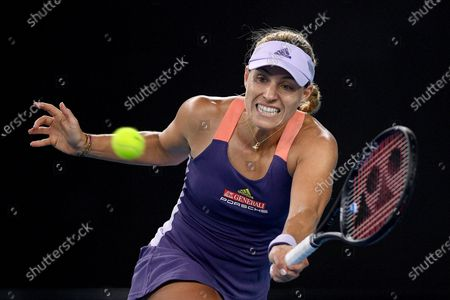 Angelique Kerber of Germany plays a forehand during her fourth round match against Anastasia Pavlyuchenkova of Russia at the Australian Open tennis tournament at Melbourne Park in Melbourne, Australia, 27 January 2020.