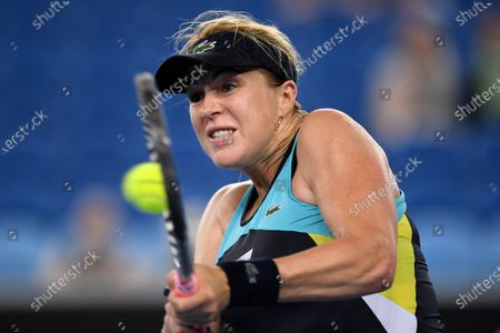 Anastasia Pavlyuchenkova of Russia plays a backhand during her fourth round match against Angelique Kerber of Germany at the Australian Open tennis tournament at Melbourne Park in Melbourne, Australia, 27 January 2020.