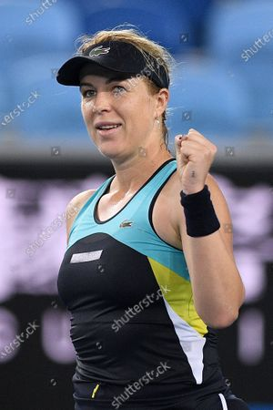 Anastasia Pavlyuchenkova of Russia celebrates after winning her fourth round match against Angelique Kerber of Germany  at the Australian Open tennis tournament at Melbourne Park in Melbourne, Australia, 27 January 2020.