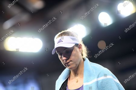 Angelique Kerber of Germany leaves the court after losing her fourth round match against Anastasia Pavlyuchenkova of Russia at the Australian Open tennis tournament at Melbourne Park in Melbourne, Australia, 27 January 2020.