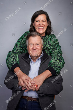 """Kirsten Johnson, Dick Johnson. Director Kirsten Johnson, back, and Dick Johnson pose for a portrait to promote the film """"Dick Johnson Is Dead"""" at the Music Lodge during the Sundance Film Festival, in Park City, Utah"""