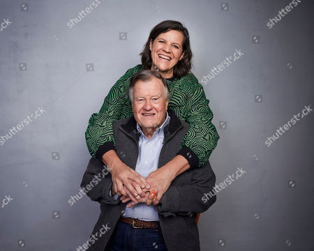"""Stock Image of Kirsten Johnson, back, and Dick Johnson pose for a portrait to promote the film """"Dick Johnson Is Dead"""" at the Music Lodge during the Sundance Film Festival, in Park City, Utah"""