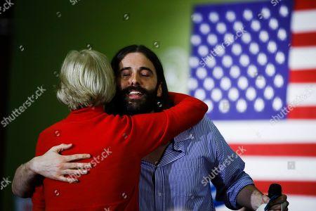 Jonathan Van Ness, Elizabeth Warren. Jonathan Van Ness embraces Democratic presidential candidate Sen. Elizabeth Warren, D-Mass., during a campaign event, in Cedar Rapids, Iowa