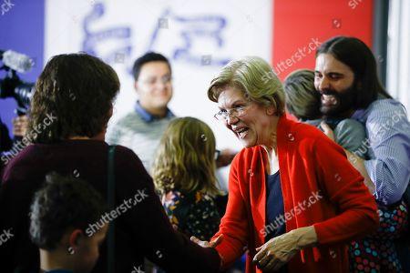Elizabeth Warren, Jonathan Van Ness. Democratic presidential candidate Sen. Elizabeth Warren, D-Mass., accompanied by Jonathan Van Ness during a campaign event, in Cedar Rapids, Iowa