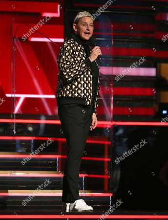 Ellen DeGeneres introduces a performance at the 62nd annual Grammy Awards, in Los Angeles