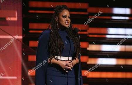 Ava DuVernay introduces a tribute in honor of the late Nipsey Hussle at the 62nd annual Grammy Awards, in Los Angeles