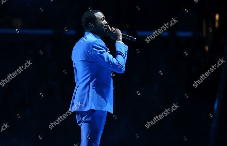 Meek Mill performs during a tribute in honor of the late Nipsey Hussle at the 62nd annual Grammy Awards, in Los Angeles