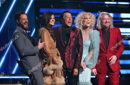 Smokey Robinson, Jimi Westbrook, Karen Fairchild, Kimberly Schlapman, Philip Sweet. Smokey Robinson, center, and from left, Jimi Westbrook, Karen Fairchild, Kimberly Schlapman, and Philip Sweet, of Little Big Town, present the award for song of the year at the 62nd annual Grammy Awards, in Los Angeles