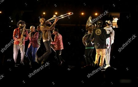 """Troy Andrews & Preservation Hall perform """"Didn't He Ramble"""" at the 62nd annual Grammy Awards, in Los Angeles"""