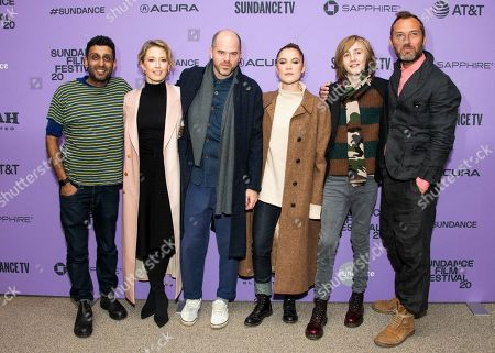 """Stock Picture of Adeel Akhtar, Carrie Coon, Sean Durkin, Oona Roche, Charlie Shotwell, Jude Law. From left, actors Adeel Akhtar and Carrie Coon, director Sean Durkin and actors Oona Roche, Charlie Shotwell and Jude Law attend the premiere of """"The Nest"""" at the Eccles Theatre during the 2020 Sundance Film Festival, in Park City, Utah"""