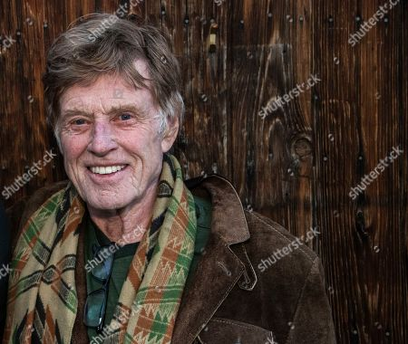"""Stock Photo of Robert Redford poses for a portrait to promote his grandson Dylan Redford's film """"Omniboat: A Fast Boat Fantasia"""" during the 2020 Sundance Film Festival, in Park City, Utah"""