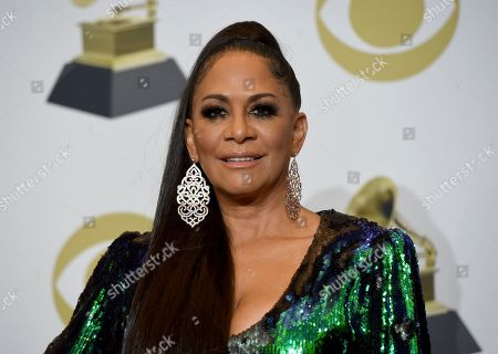 Sheila E. poses in the press room at the 62nd annual Grammy Awards at the Staples Center, in Los Angeles