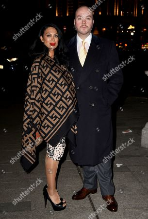 Stock Image of Jonathan Sothcott and Janine Nerissa arrive at the Reg Traviss Engagement Party
