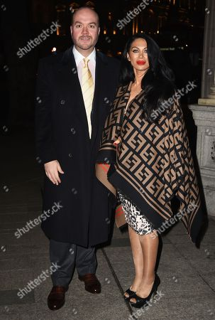 Stock Picture of Jonathan Sothcott and Janine Nerissa arrive at the Reg Traviss Engagement Party