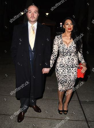 Jonathan Sothcott and Janine Nerissa arrive at the Reg Traviss Engagement Party
