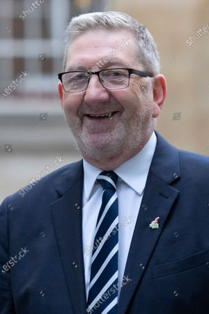 General Secretary of the Unite Union Len McCluskey arrives at the BBC. Later he will appear on the Andrew Marr Show.